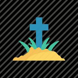cemetery, coffin, grave, rip icon