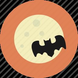 bat, halloween, moon, night icon