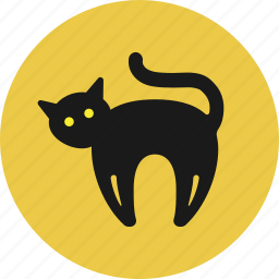animal, black cat, cat, halloween icon