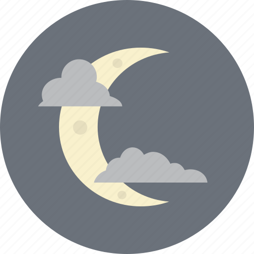 cloud, crescent, moon, night, weather icon