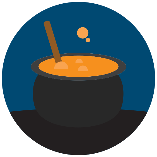 halloween, witch cooking icon