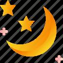 crescent, moon, night, sky, sleep, stars icon