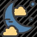 cloud, midnight, moon, night icon
