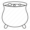 boiler, cooking, line, outline, pot, sorcerer, witch icon