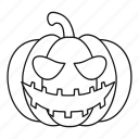 face, halloween, lantern, line, october, outline, pumpkin icon