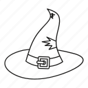 cap, hat, illusion, line, magic, outline, witch icon