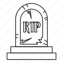 death, grave, headstone, line, mortuary, outline, rip icon