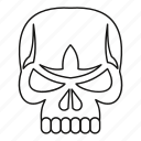 dead, death, horror, line, outline, skeleton, skull icon