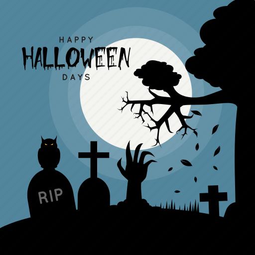 Dark, days, death, grave, halloween, holiday, owl icon | Icon ...