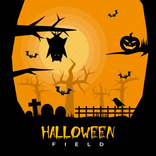 bat, dark, field, grave, halloween, holiday, owl icon