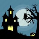building, dark, halloween, holiday, house, owl, pumpkin icon