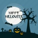 bat, dark, grave, halloween, holiday, night, pumpkin icon