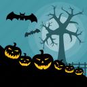 bat, dark, halloween, holiday, pumpkin, pumpkins, tree icon