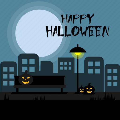 city, dark, halloween, happy, holiday, pumpkin, road icon