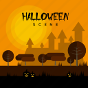 castle, dark, halloween, holiday, pumpkin, scene, tree icon