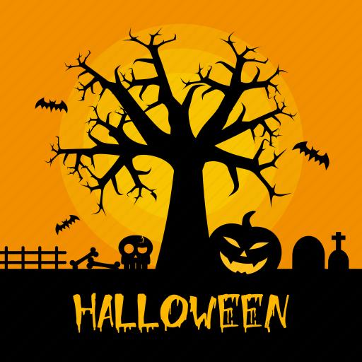 bat, dark, halloween, holiday, pumpkin, tree icon