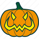 bad, evil, halloween, pumpkin, smile icon