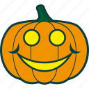 halloween, happy, pumpkin, smile icon