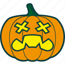 dead, halloween, pumpkin, zombie icon