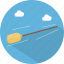 broom, flying, halloween icon