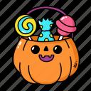 halloween, candy, treat, or, trick, pumpkin