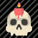 candle, halloween, skull icon