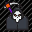 death, grim, halloween, horror, reaper, scary, scythe icon
