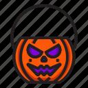 bucket, halloween, pumpkin