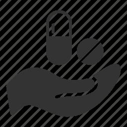 hand, healthcare, insurance, manufacturing, medicine, medicines, pills icon