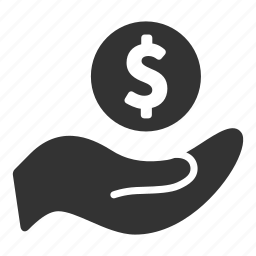 bank, business, coin, currency, dollar, hand, money icon