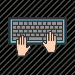 buttons, hand, hardware, input device, keyboard, keys, laptop icon