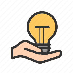 bulb, electric, hand, hold, holding, light, lightbulb icon