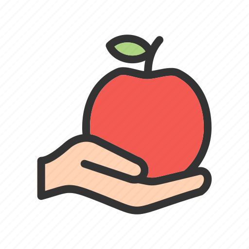 apple, food, fresh, fruit, hand, sweet, tasty icon