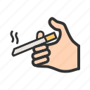 addiction, cigarette, cigarettes, hand, smoke, smoking, unhealthy icon