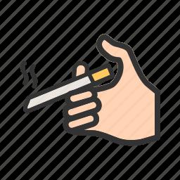 addiction, cigarette, cigarettes, hand, smoke, smoking, unhealthy icon