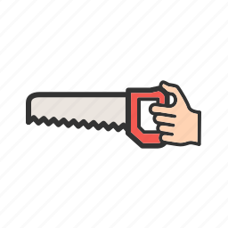hand, metal, object, saw, tool, wood, work icon