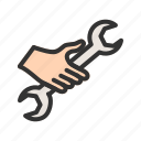 construction, equipment, hardware, metal, tool, work, wrench icon
