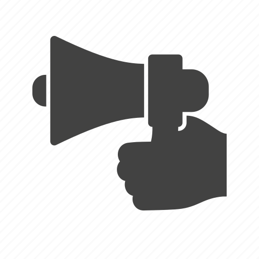 announcement, attention, audio, hand, loud, results, speaker icon