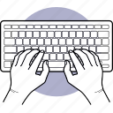 keyboard, hand, typing, type, computer icon