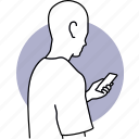 man, person, phone, reading, using, smartphone, cellphone icon