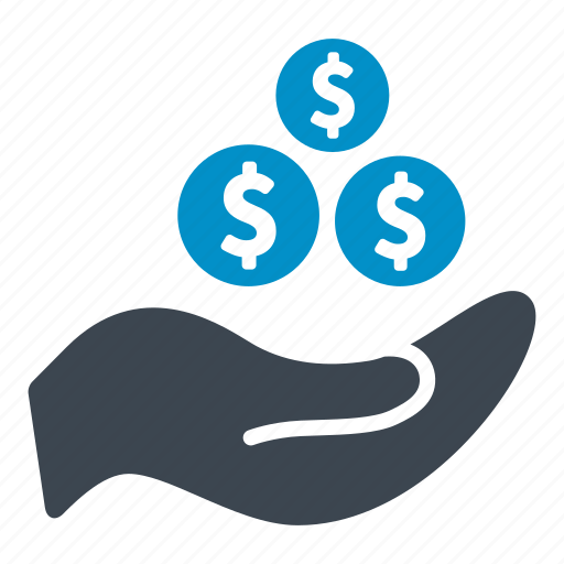 bank, business, coin, currency, dollars, hand, money icon
