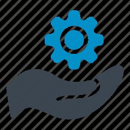 cogwheel, configuration, creation, gear, hand, settings icon