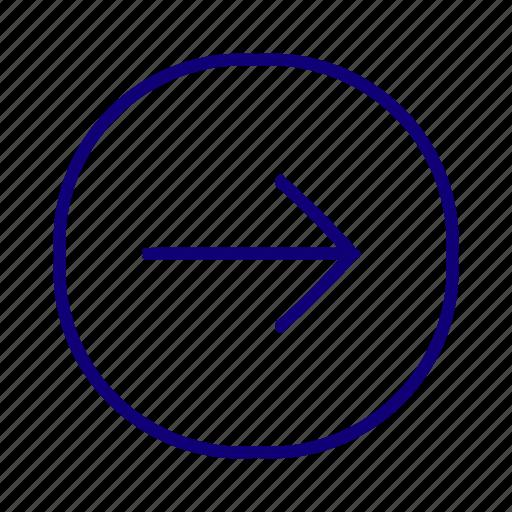 direction, go forward, move right, next, right arrow, right caret, right chevron icon