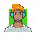 avatar, avatars, designer, dude, hippy, man avatar icon