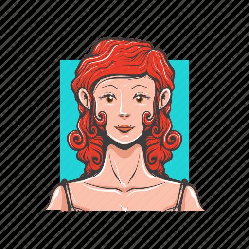 avatar, avatars, red hair, women, women avatar icon