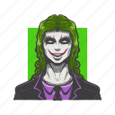 angry, avatar, avatars, face, joker, scary, villain icon