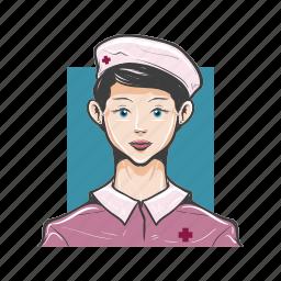 avatar, avatars, face, girl, medical, nurse, woman icon