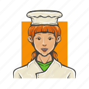 avatar, avatars, baker, chef, cook, girl, woman icon