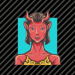 avatar, avatars, demon, devil, evil, red, woman icon
