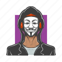 anonymos, avatars, man, mask, masked, revolutionary, vendetta icon